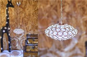 Disc shaped red crystal chandelier