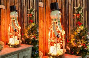 Snowman LED candle lantern