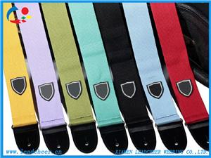 Simple Pure Color Cotton Guitar Strap Ukulele Sling with Leather Ends