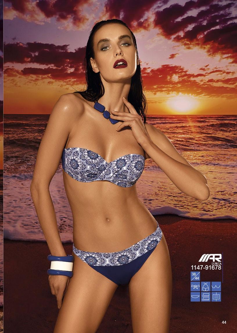 blue Printed bikini