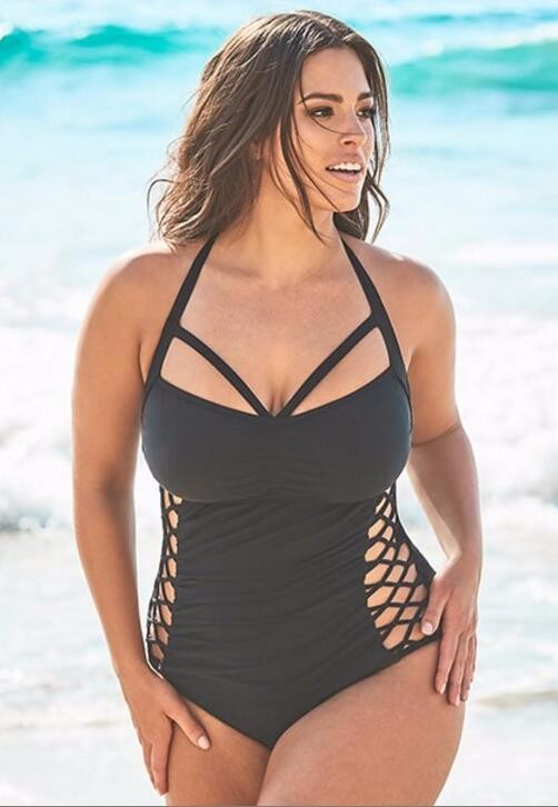 SWIMSUITS FOR ALL BOSS BLACK CUT OUT ONE PIECE SWIMSUIT