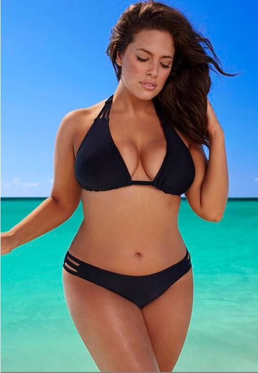 BEACH BABE BLACK TRIANGLE TRIPLE STRING BIKINI