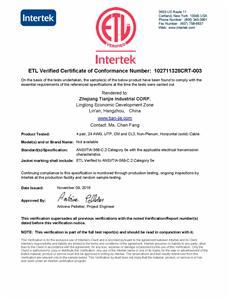 ETL Verified to ANSI/TIA-568-C.2 Category 5e/CAT5E CM and CL3