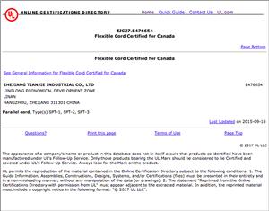 CUL ZJCZ7.E476654 Flexible Cord Certified for Canada SPT-1, SPT-2, SPT-3