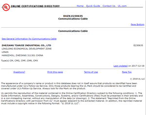 UL DUZX.E230635  Communication Cable CM, CMG, CMX, CMR, CMP