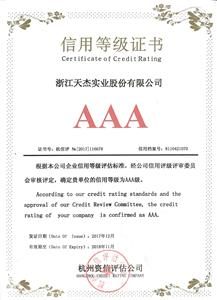AAA Certificate of Credit Rating