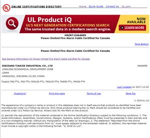 CUL HNIR7.E464899 Power-limited Fire Alarm Cable for Canada FAS FT1, FAS FT4, FAS105 FT1, FAS105 FT4, FAS90 FT1, FAS90 FT4