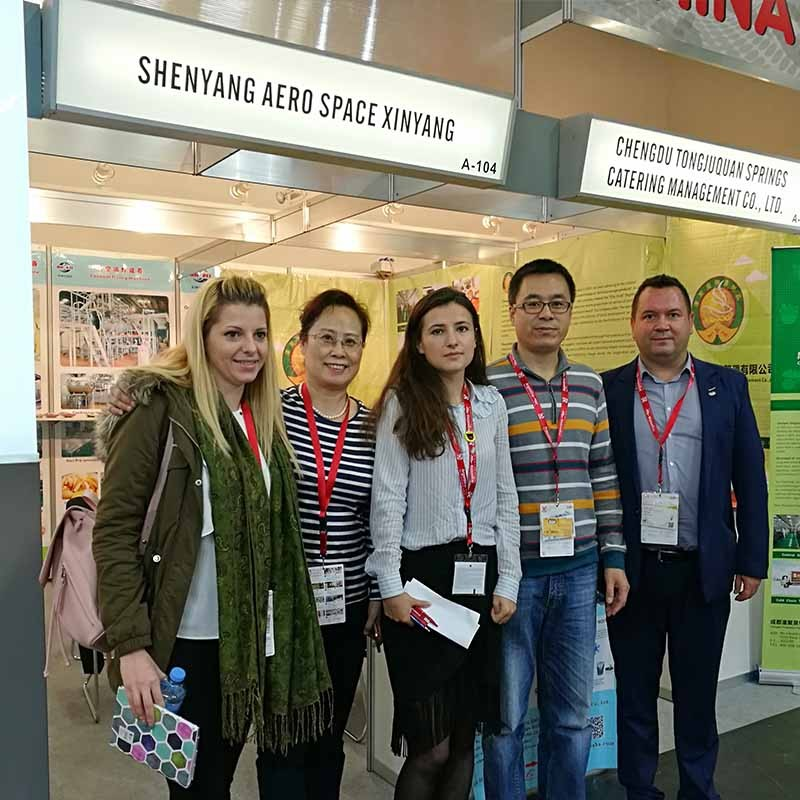 Xinyang team at Anuga food exhibition in 2017 for food machinery