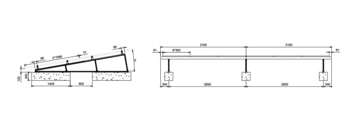 Système de rayonnage solaire sur le toit
