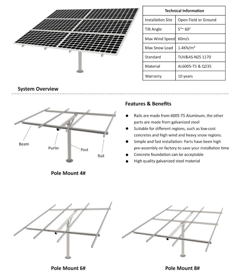 Single Pole Solar Ground Mount