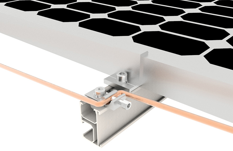 Aletta di messa a terra per scaffalature solari