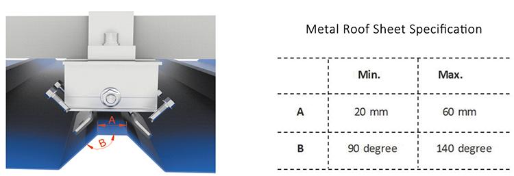 morsetto per tetto solare in metallo
