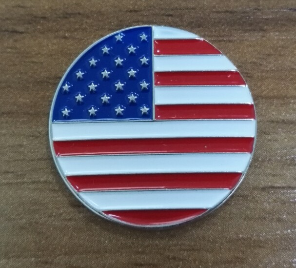 Engraved USA flag golf ball markers