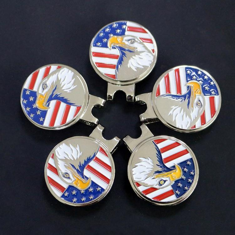 Engraved Logo USA Eagle Flag Golf Ball Marker