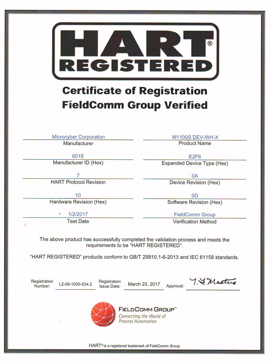 Certificate of Registration FieldComm Group Verified(M1100S DEV-WH-X)