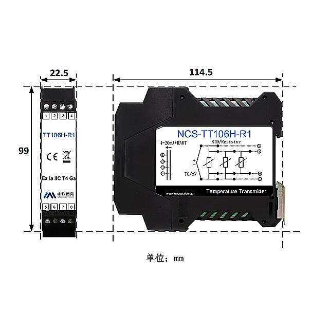 HART DIN Rail Temperature Transmitter