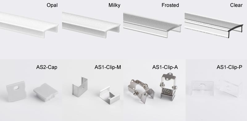 Firkantet aluminium LED-profil til LED-strip