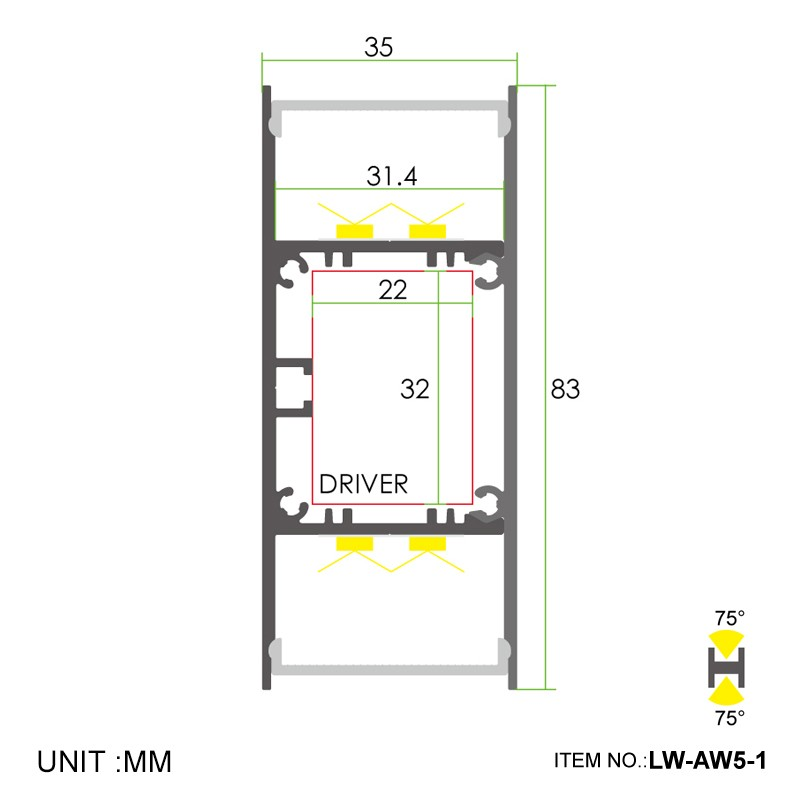 AW5-1 Wall mounted up/down led profile integrated driver 35x83mm Manufacturers, AW5-1 Wall mounted up/down led profile integrated driver 35x83mm Factory, Supply AW5-1 Wall mounted up/down led profile integrated driver 35x83mm