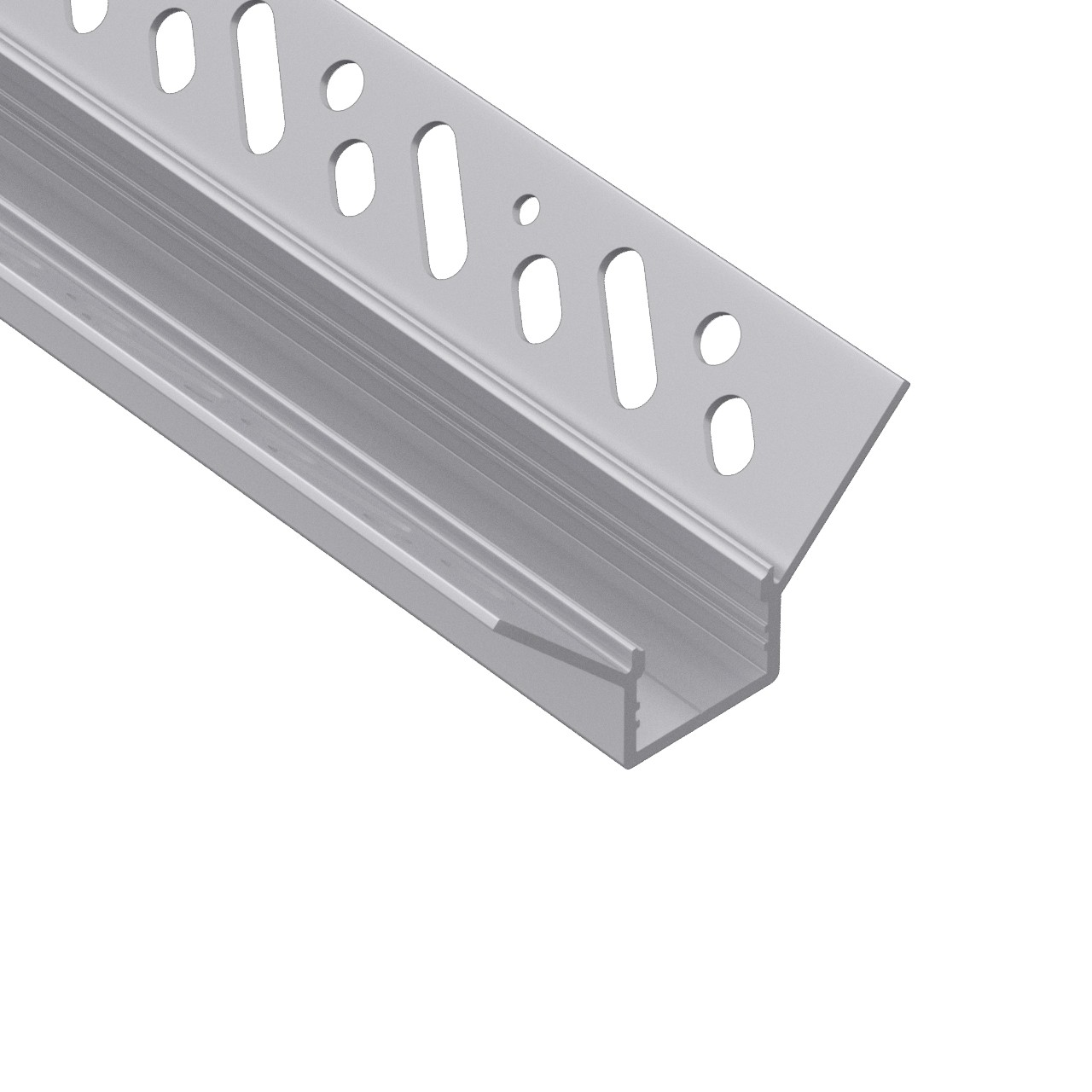 CT6 Trimless Aluminium Extrusions for recessing into plasterboard inside corner 49.8x26.2mm