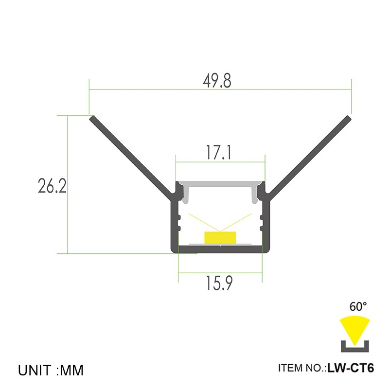 CT6 Recessed Inside Corner 49.8x26.2mm Manufacturers, CT6 Recessed Inside Corner 49.8x26.2mm Factory, Supply CT6 Recessed Inside Corner 49.8x26.2mm