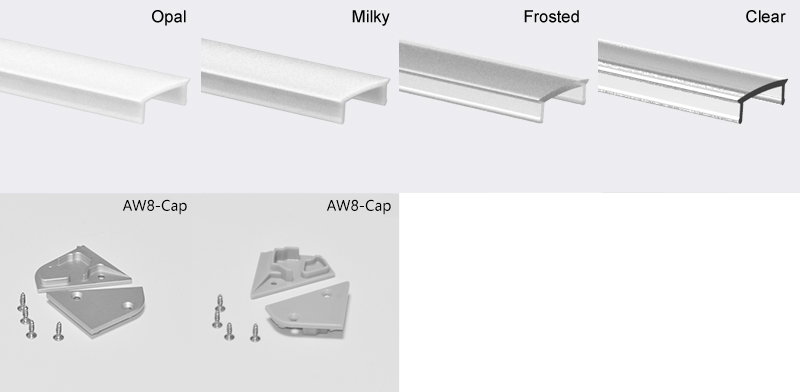 Vægvask forsænket aluminium ledet kanal med monteringsklemme