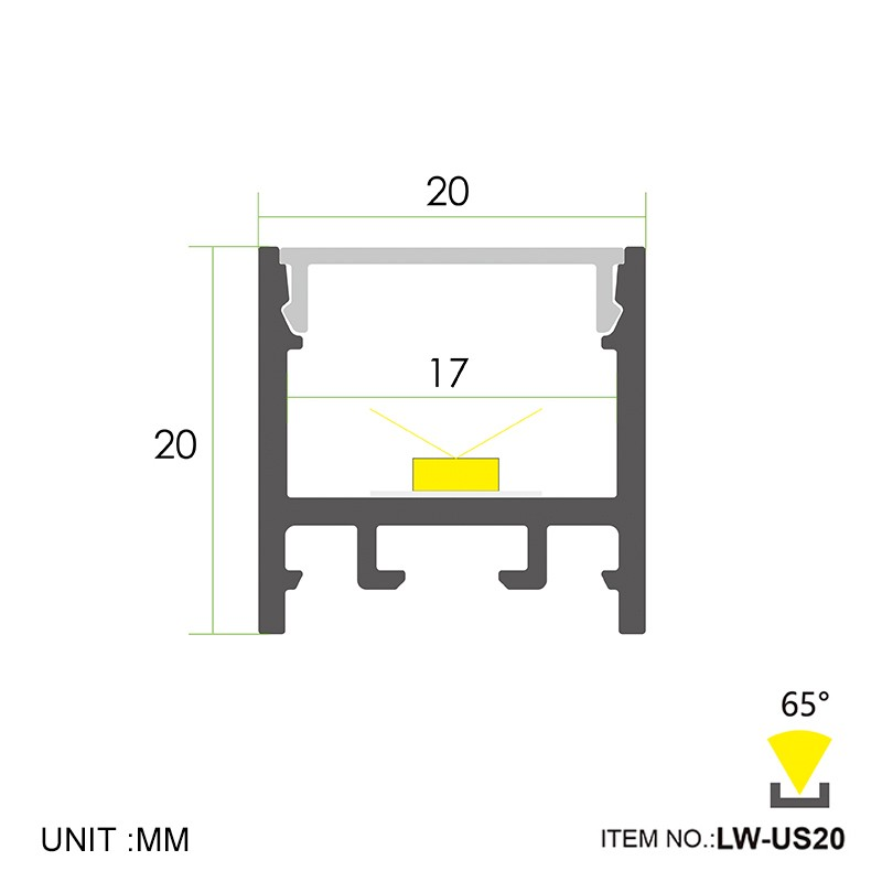US20 Surface square led profile 20x20mm Manufacturers, US20 Surface square led profile 20x20mm Factory, Supply US20 Surface square led profile 20x20mm