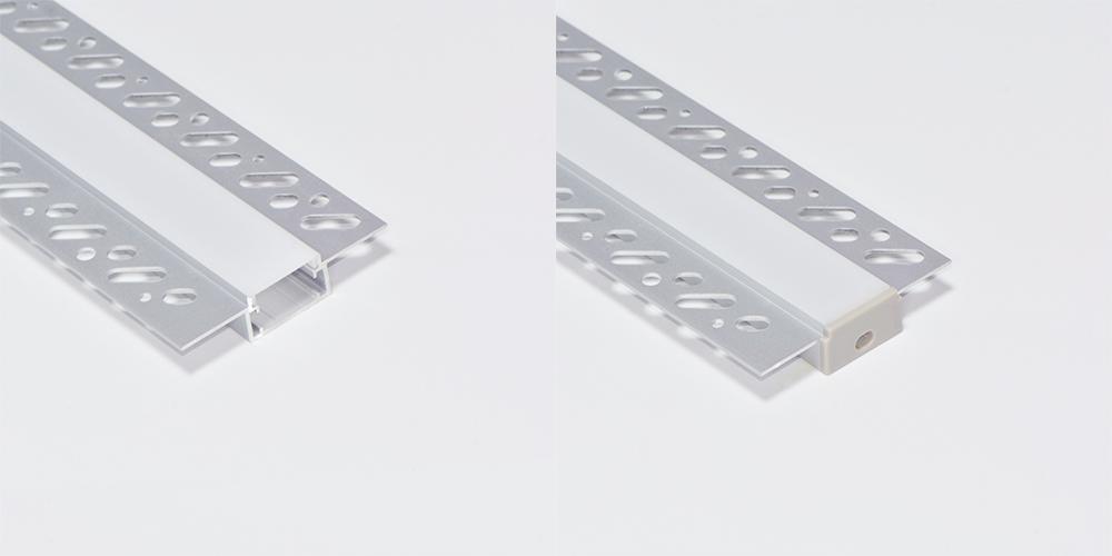 Trimless Aluminium Extrusions for recessing into plasterboard edge