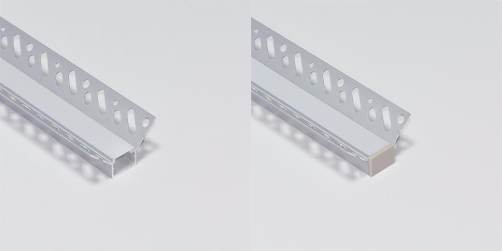 Trimless Aluminium Extrusions for recessing into plasterboard inside corner