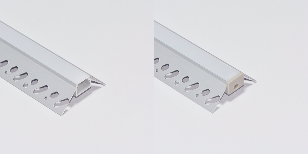 Trimless Aluminium Extrusions for recessing into plasterboard outside corner