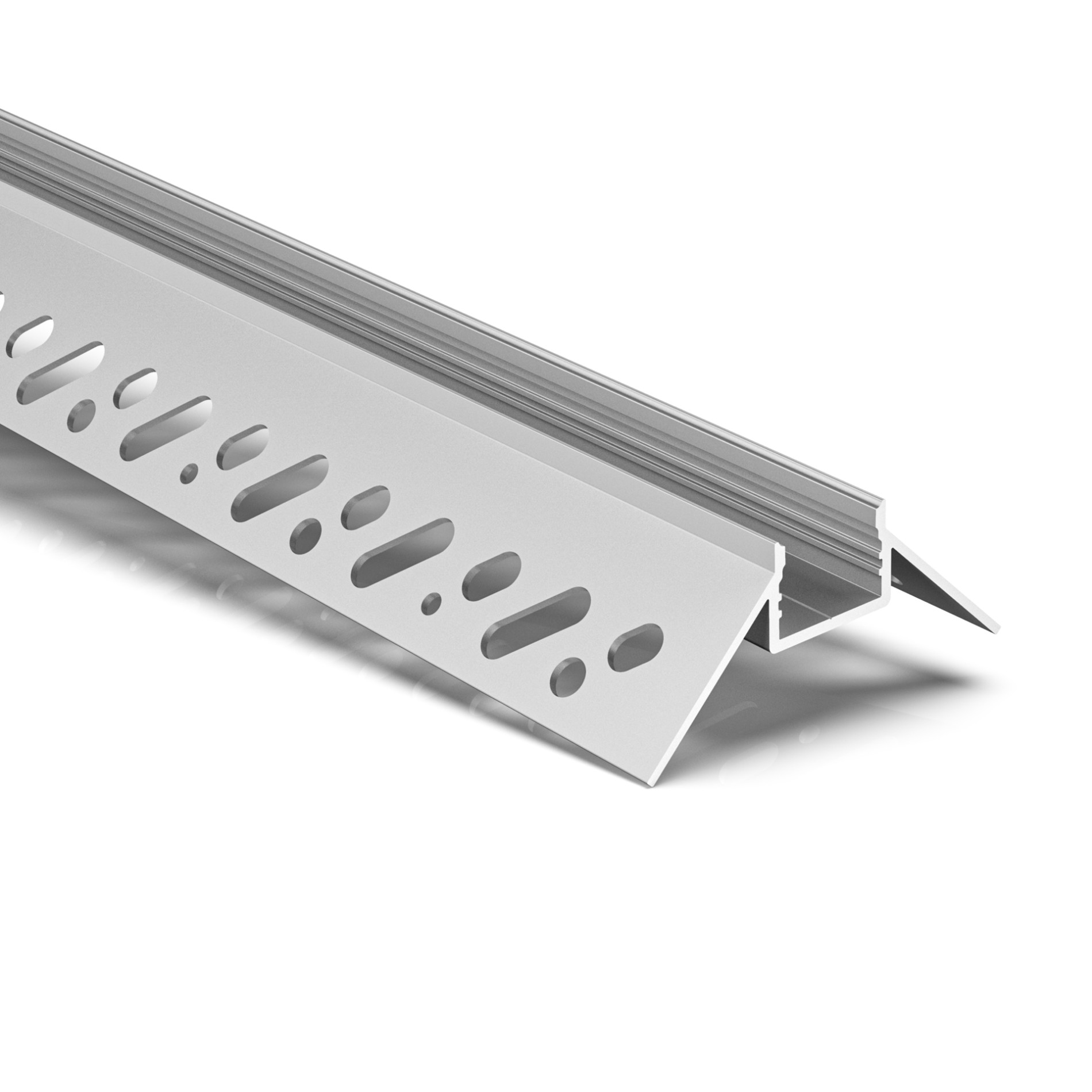 CT7 Trimless Aluminium Extrusions for recessing into plasterboard outside corner 55.6x23.7mm