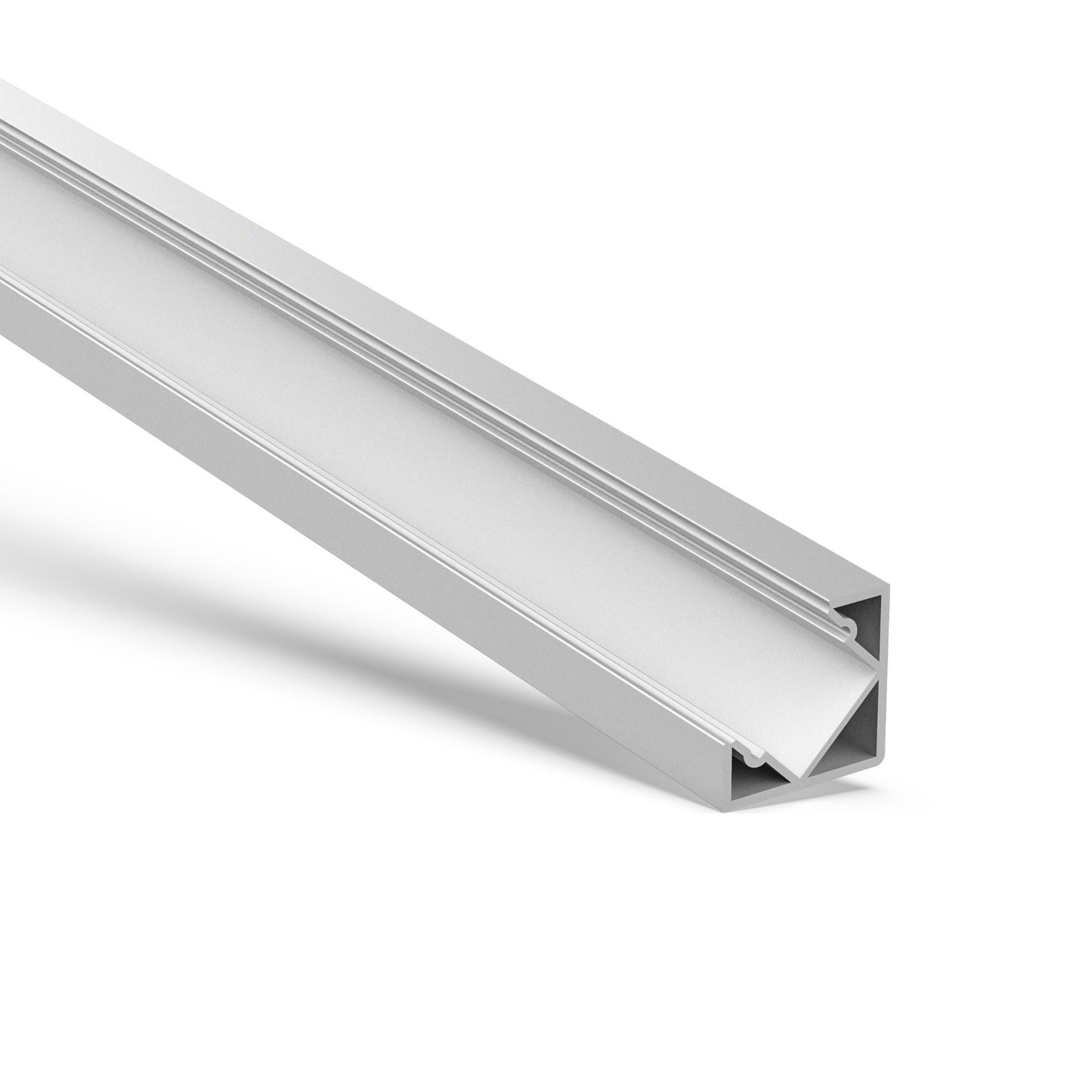 AC3 45 graders hjørneprofilbase og PMMA diffusor 18,4x18,4 mm