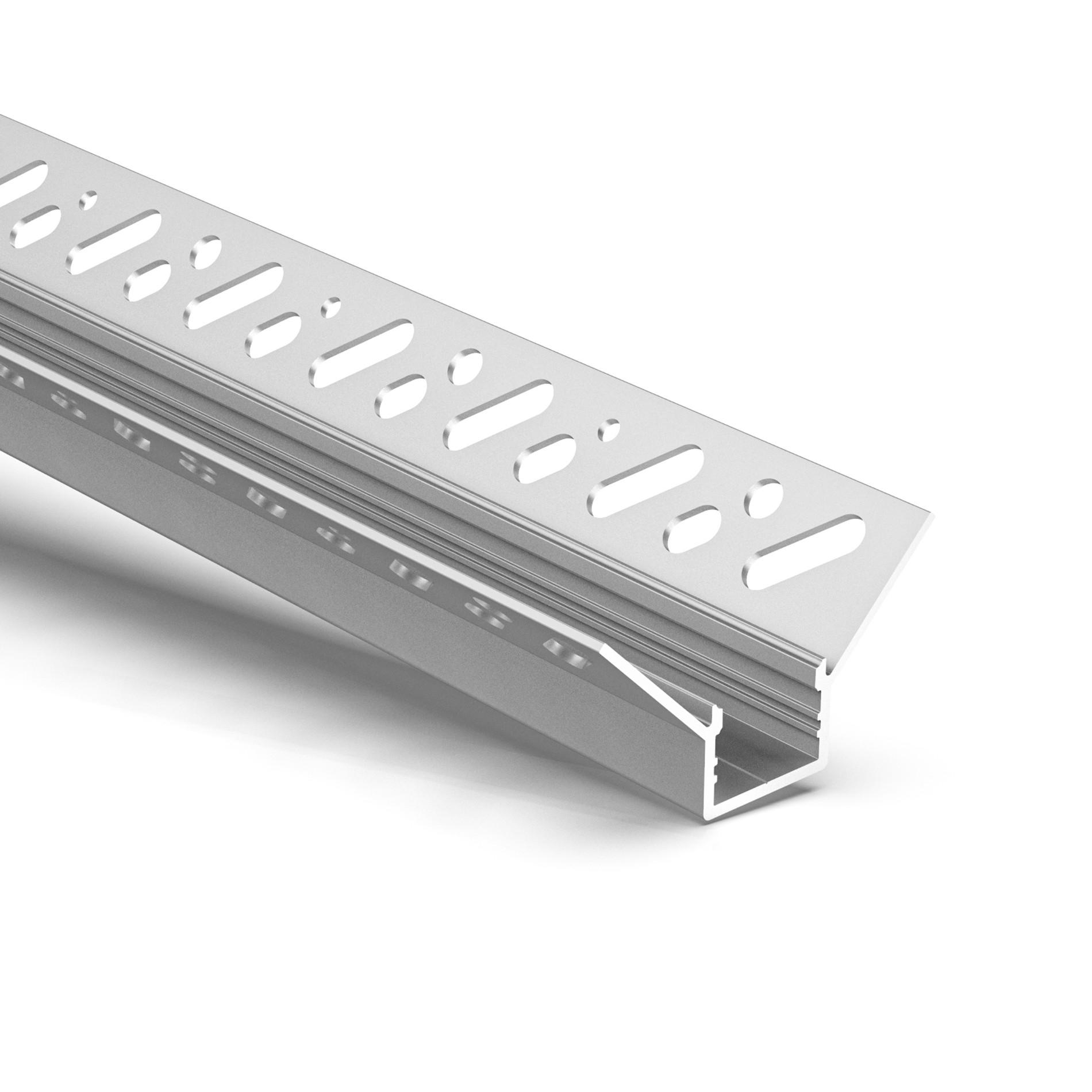 CT6 Trimless Aluminium Extrusions for recessing into plasterboard inside corner 49.8x26.2mm