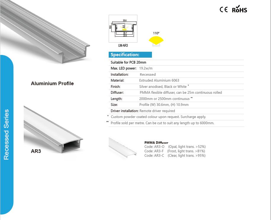 Perfil de aluminio rebajado y difusor con