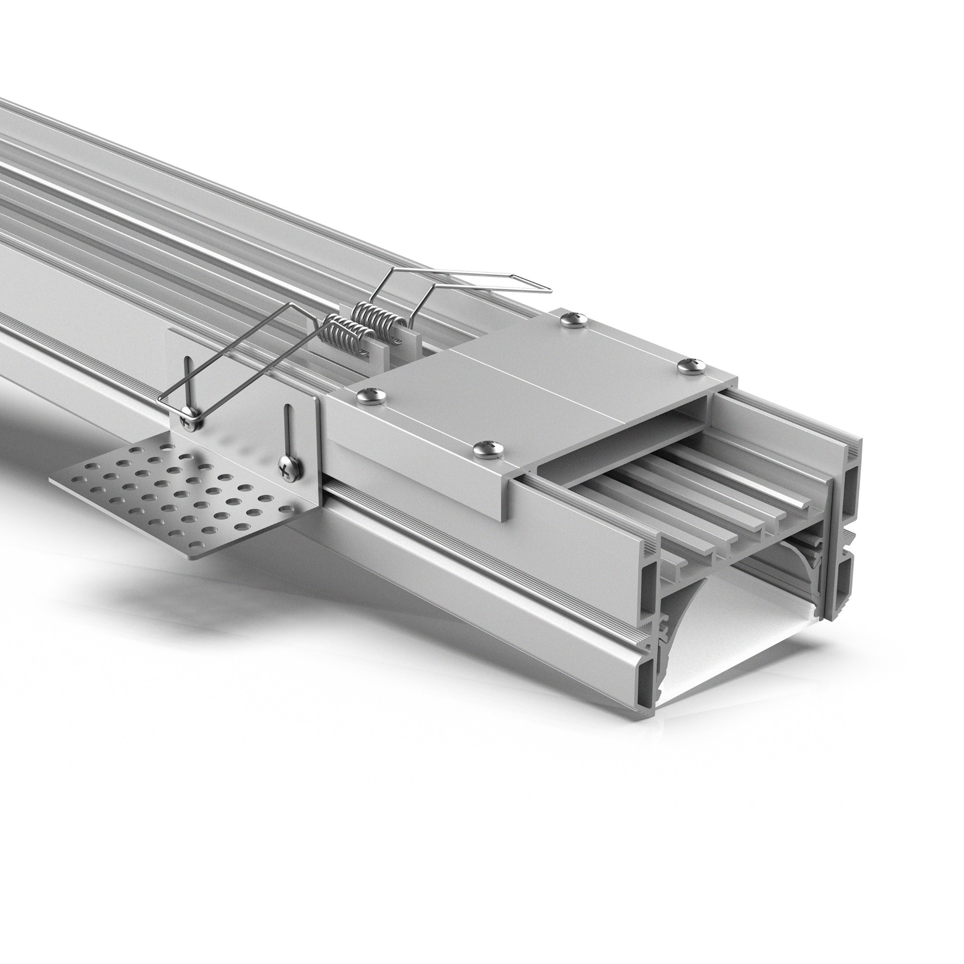 Perfil LED TR60 60mm Trimless para techo de yeso 74.7x48mm