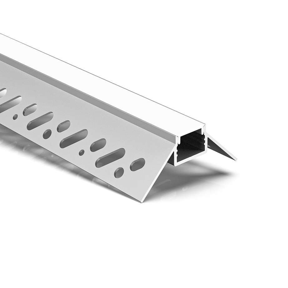 CT7 Trimless Aluminium Extrusions til forsænkning i gipsplader udvendigt hjørne 55.6x23.7mm