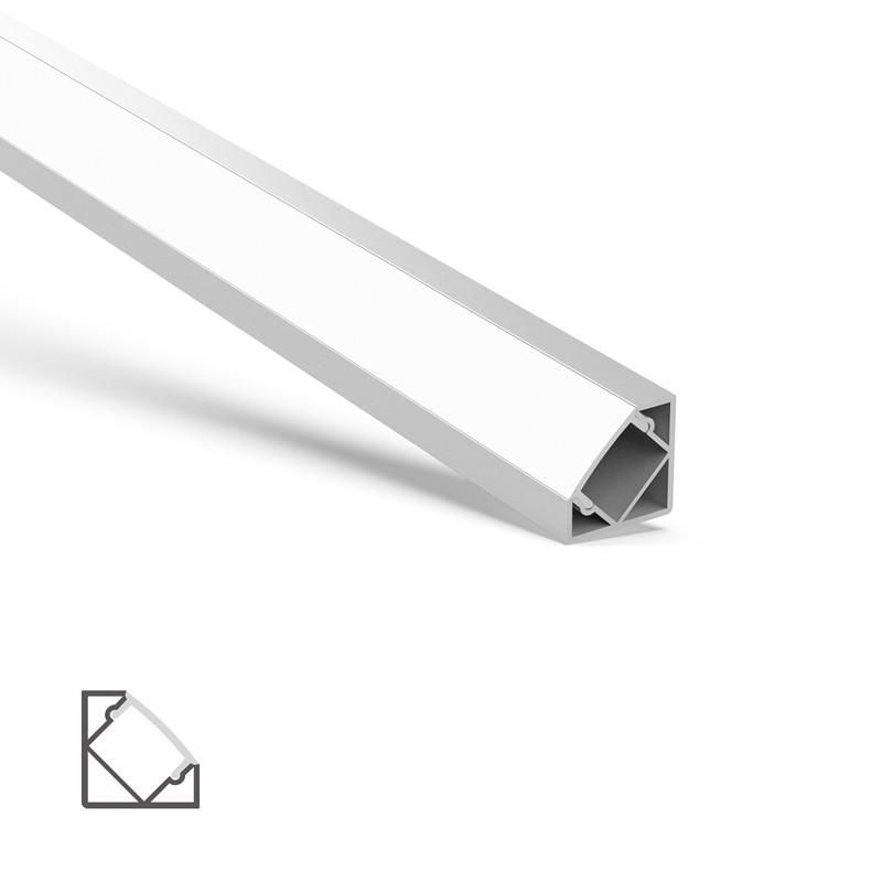 AC3 45 graders hjørneprofilbase og PMMA diffusor 18,4x18,4mm