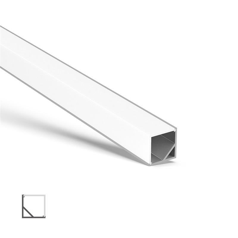 AC1 45˚ hjørne aluminiumsprofil med firkantet låg 16x16mm