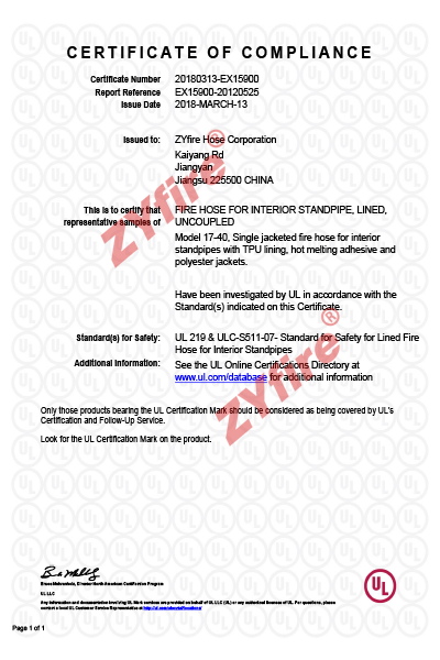 Certificado UL-219 17-40