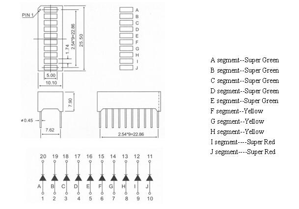 10 segment LED Light Bar