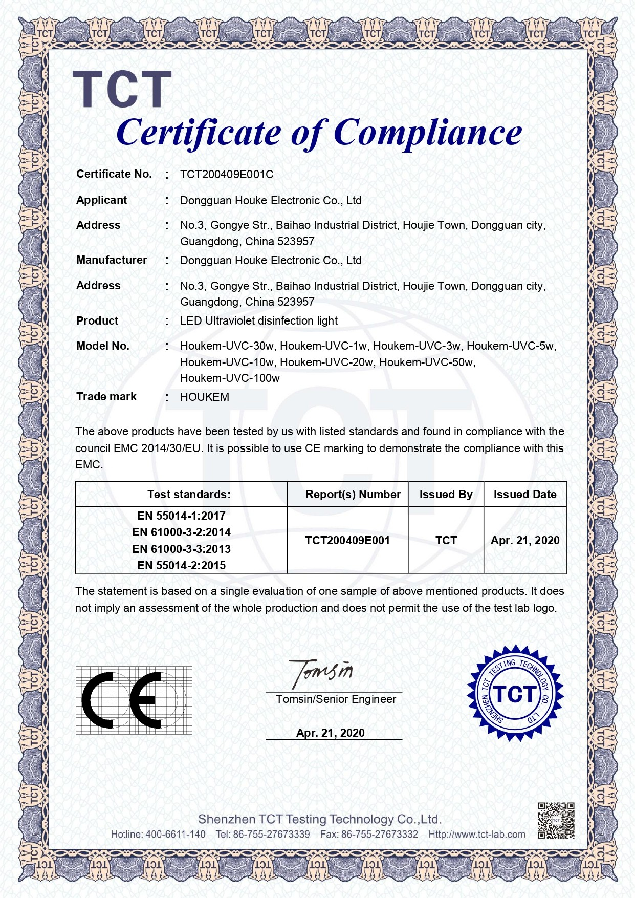 Houkem LED Ultraviolet disinfection light CE certificate for different UVC LED