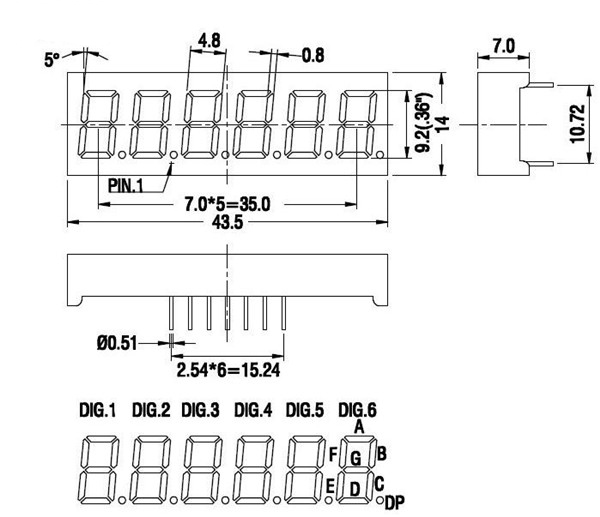 6 digit 7 segment display