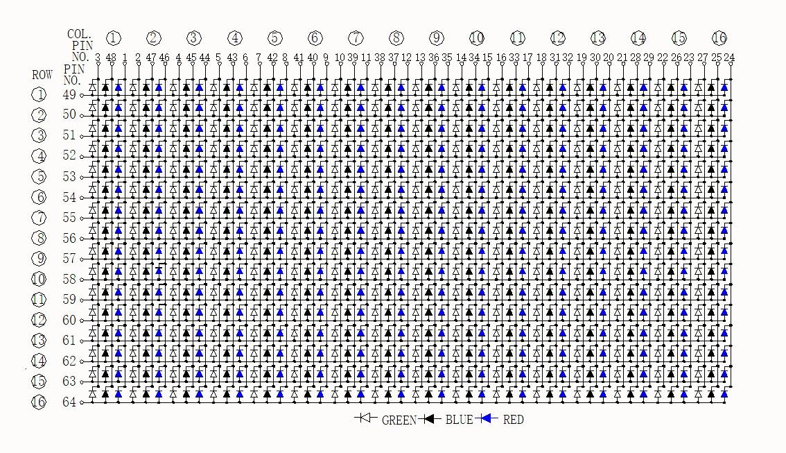 16x16 dot matrix RGB
