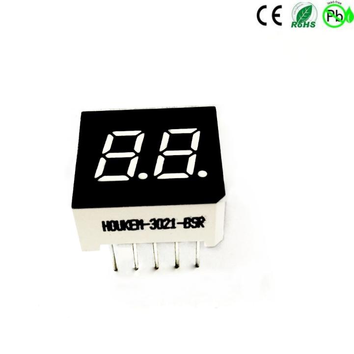 Mini-Größe zweistellige rote 7-Segment-LED-Anzeige 0,3'''' HOUKEM-3021-BSR
