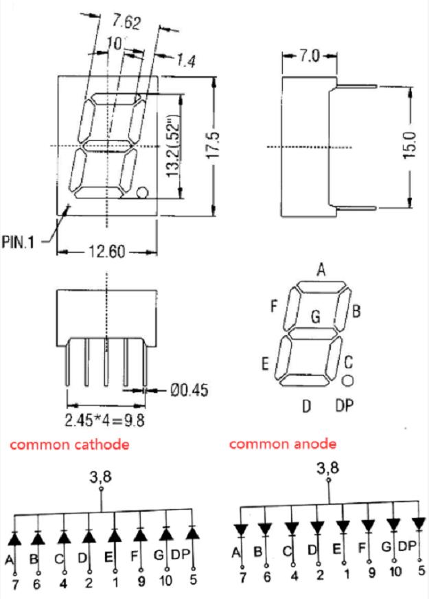 0.5inch 7 segment display