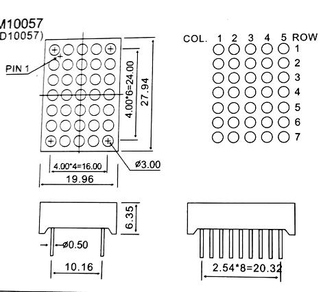 red 5*7dot matrix display 5x7