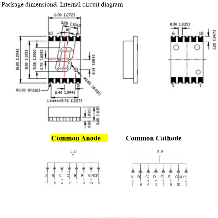 7 Segment SMD Display 1 digit