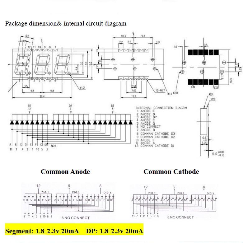 7 Segment SMD Display 3 digit
