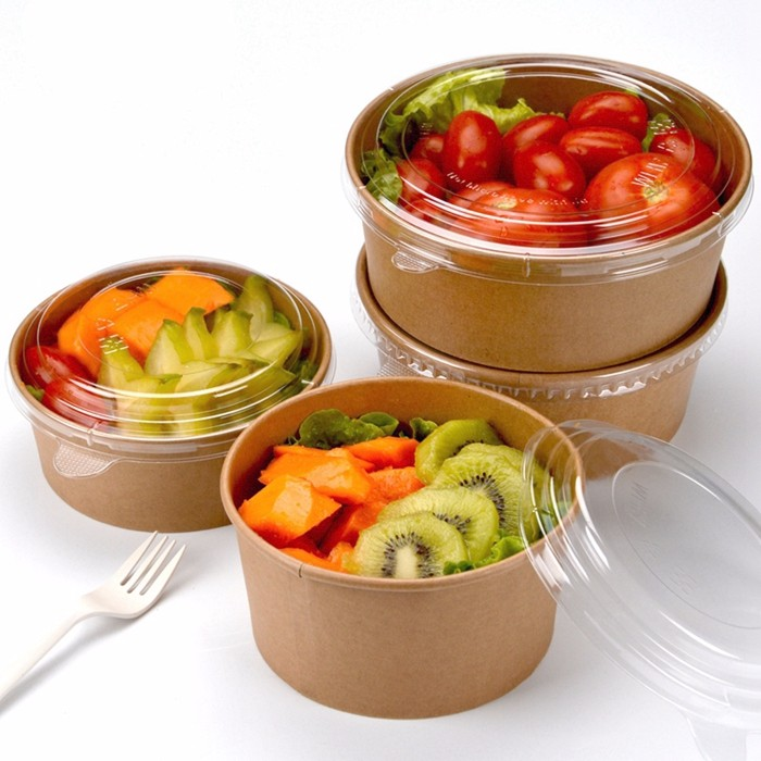 700/1300ml Disposable Meal Packing Box Kraft Bowl Cover Cowhide Salad Box 300 sets
