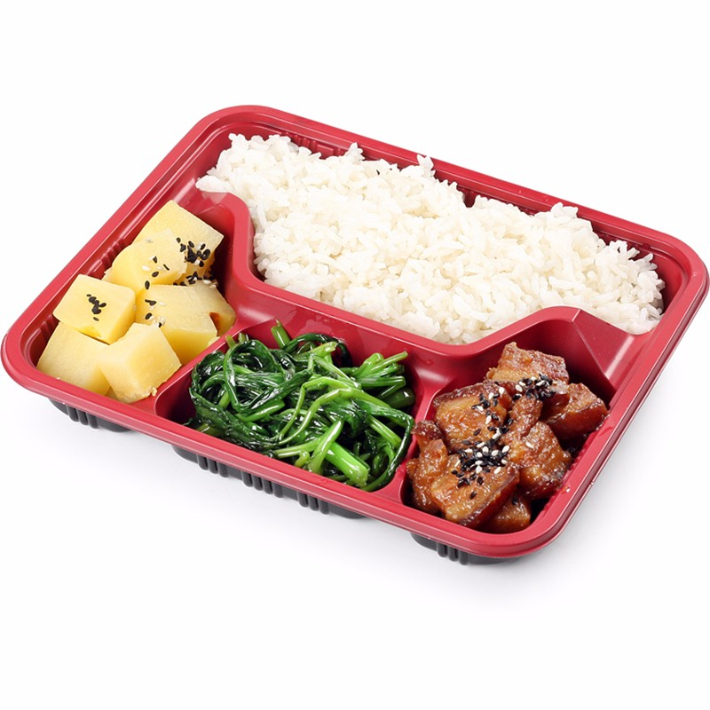 One Meal Box Four Grid Disposable Lunch Box Plastic Packing Box Snack Box Dark Red Bento Box 1000 Set