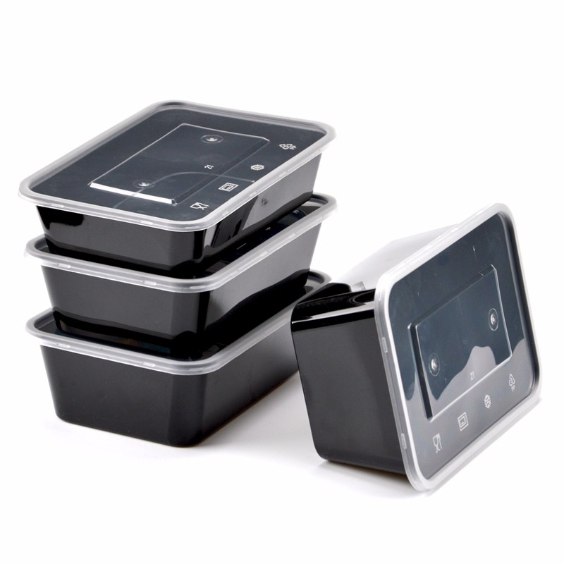 Packing Box Disposable Round Plastic Meal Box Take-out Bowl Black Lunch Box Meal Box Cover 50 Cover